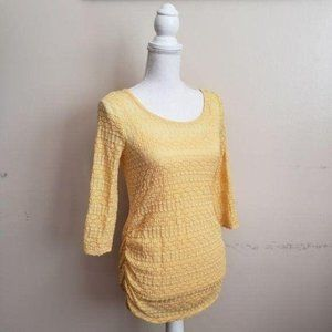 Jessica Simpson Maternity 3/4 Sleeve Top Yellow